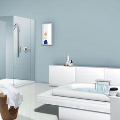 Elektryczne ogrzewacze przepływowe SIEMENS - ciepła woda szybko i oszczędnie! Bathroom Lighting, Mirror, Furniture, Home Decor, Bathroom Light Fittings, Bathroom Vanity Lighting, Decoration Home, Room Decor, Mirrors