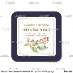 Thank You Custom Watercolor Wedding Stickers Watercolor Floral Painting design Wedding | Couples Wedding Shower Thank You Custom Stickers with personalized bride's and groom's names and wedding date. Matching Bridal Shower Invitations, Wedding Invitation Cards, Save the Date Cards , Wedding Postage Stamps and Envelopes, Bridesmaid to be Request Cards and other Wedding Stationery and Wedding Gift Products available in the Floral Design Category of our Store.