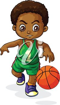 Illustration of a young boy playing basketball on a white background