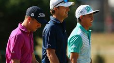 Justin Thomas, left, was the victim of a well-planed prank by friend Jordan Spieth, center, last week. Jordan Spieth Golf, Brady Quinn, Justin Thomas, Rickie Fowler, Wellness Fitness, The Victim, Pranks, Coaching, Jordans