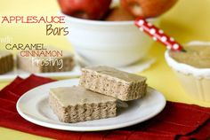 Applesauce Bars with Caramel Cinnamon Frosting  -- perfect Fall lunchbox treat!!