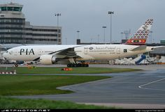Pakistan International Airlines (PIA) (PK)  Boeing 777-240(ER) AP-BHX aircraft, named ''Quetta-Natures Orchard'', painted in ''Baluchistan Province'' special colours Mar. 2007 - Feb. 2013, skating at England Manchester International Airport. 25/11/2007. (Quetta=the provincial capital of Balochistan one of the four Provinces of Pakistan).