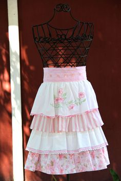 Pink Rose Vintage Pillowcase Apron by BertsPawPrints on Etsy, $50.00