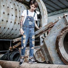 2019 New Japanese Harajuku Locomotive Denim Jumpsuit Men's Autumn patch feet jeans Korean Men's Bib Size M-XXL XXXL Casual Jumpsuit, Denim Jumpsuit, Denim Overalls, Men's Denim, Trousers, Overalls Fashion, Fashion Pants, Fashion Men, Mens Suspender Pants