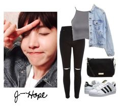 """First Date with J-Hope"" by btsoutfits ❤ liked on Polyvore featuring moda, River Island, NLY Trend, Levi's, Witchery y adidas Originals"