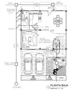 Plano comun de una casa con cuadro de cargas; plantas y