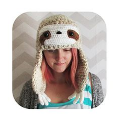 Adorable sloth beanie with earflap arms - vegan - winter hat. **All items are made in a dog-friendly home. If you have a mild allergy I can make your item exclusively in my craft room where the dog is not allowed. People with severe allergies probably should not order from me.** Please allow 1-2 weeks for production This adorable sloth hat has extra long earflap arms for added cuteness! It'll keep you warm and cozy this winter. This hat is one size fits most. Also available in grey! I...