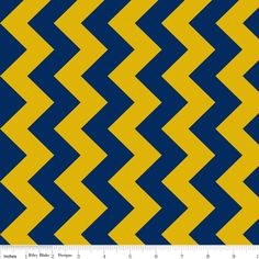 Riley Blake Designs - Chevron - 58 Wide - Medium Chevron in Blue and Gold