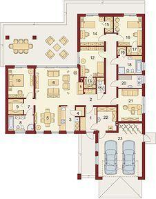 Otto 2 PS - Rzut parteru House Outside Design, House Design, Residential Building Plan, Bungalow Floor Plans, Cottage Plan, Planer, Tiny House, Home Goods, House Plans