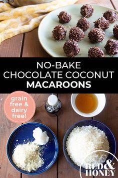 No-Bake Chocolate Coconut Macaroons (Grain-free, Dairy-free, No Refined Sugar) - elea Fodmap Recipes, Dairy Free Recipes, Real Food Recipes, Snack Recipes, Dessert Recipes, Snacks, Healthy Recipes, Desserts, Chocolate Coconut Macaroons