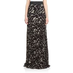 emanuel ungaro Abstract Dot Georgette Maxi Skirt ($815) ❤ liked on Polyvore featuring skirts, apparel & accessories, long polka dot skirt, long floor length skirts, georgette skirt, ankle length skirt and pleated maxi skirt