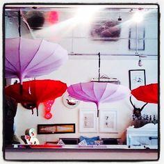 Umbrellas in Find of Temple Bar, Dublin.