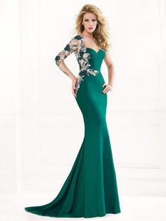Trumpet/Mermaid Sweetheart Long Sleeves Applique Sweep/Brush Train Satin Dresses