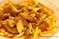 Crockpot Garlic Pesto Chicken with Pasta in a Tomato Cream Sauce  | Who Needs A Cape?