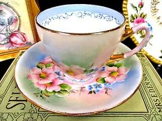 GLADSTONE TEA CUP AND SAUCER PAINTED ARTIST SIGNED BLOSSOMS TEACUP BR