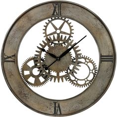 Sterling Industries Industrial Cog Wall Clock ($166) ❤ liked on Polyvore featuring home, home decor, clocks, brown, industrial wall clock, industrial clock, sterling industries, industrial home decor and gear wall clocks