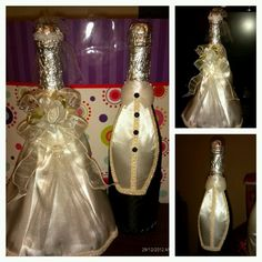 Decorated champagne bottles as bride and groom, for son's wedding.
