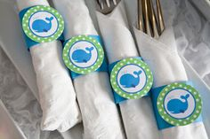 Whale Birthday Party - Napkin Rings - Silverware Wraps - Preppy Ocean Theme Party Decorations in Blue and Green (12)