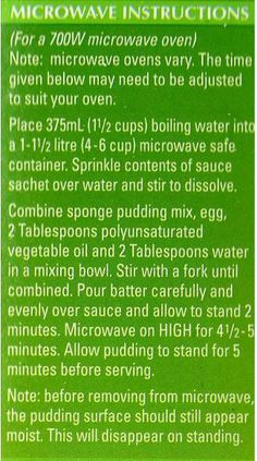 Greens - Chocolate self-saucing pudding microwave instructions ?