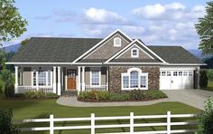 House Plan 74845 | Country Ranch Traditional Plan with 1457 Sq. Ft., 3 Bedrooms, 2 Bathrooms, 2 Car Garage