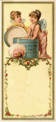 Free Printable Darling Vintage French Fairy Labels or Gift Tags ! (Actual Vintage Labels From a French Talcum Powder Made in Paris)