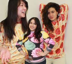 The Best Online Shop You've Never Heard Of: @Shop Jeen! It's your one-stop shop for wearable Internet memes! Our office favorites are the food-themed printed sweatshirts—and we aren't the only ones who are into this kind of thing. Even though it grosses me out a little, I've decided that I DO in fact need a pizza sweatshirt.