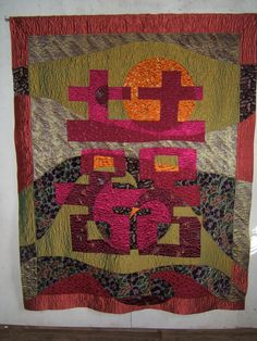"""This 6' x 8' art quilt is used for weddings and other services.  The theme of 'Double Happiness"""" comes from a Chinese cultural tradition."""