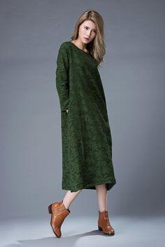 Green Printed dress women's dress Floral Dress Girl's by YL1dress