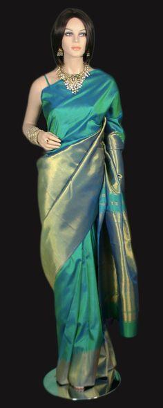 Rising Border Zari Gold Aqua Kanjeevaram Sare e Traditional Sarees, Traditional Outfits, Indian Dresses, Indian Outfits, Kanjivaram Sarees, Banarsi Saree, Saree Trends, Stylish Sarees, Elegant Saree
