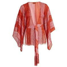 Missoni Mare Fringed fine-knit cropped kaftan (£430) ❤ liked on Polyvore featuring tops, tunics, red multi, crop top, kaftan tunic, draped tunic, boho tunic and fringe tops