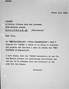 When WILD STRAWBERRIES was nominated for an Oscar in 1960, Ingmar Bergman wrote this letter to the Academy