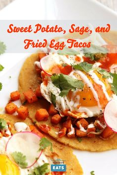 With a large stash of really great tortillas in my fridge at all times, I wind up making a lot of tacos. My favorite in recent memory are these sweet potato tacos flavored with sage and topped with sliced radish, cilantro, crema, and a fried egg. Great for breakfast, but really good any time of day.