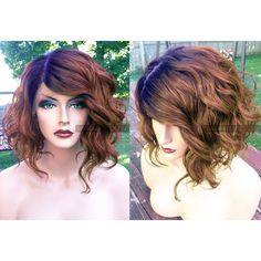 USA Swiss Lace Human Hair BLEND Short Bob Auburn Brown Lace Front PART Wavy Wig w/ Dark Root found on Polyvore featuring polyvore and hair
