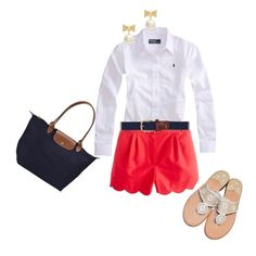 scalloped nantucket red shorts, white RL shirt, Jack Rogers + a longchamp. SO cute