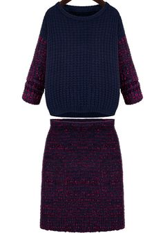 Navy And Red Color Block Knit Sweater With Bodycon Skirt - abaday.com
