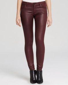 Burberry Brit Waxed Skinny Jeans in Oxblood | Bloomingdale's