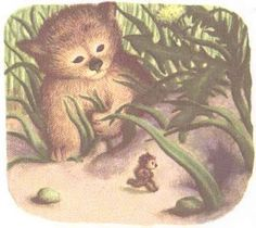 "My favorite picture from ""The Little Fur Family"". The little fur animal is sticking his little fur chest out as he is running home to his little hole : )"