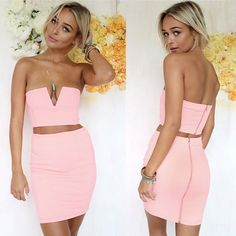 Sexy Women Solid Strapless V-Neck Crop Tops High Waist Slim Pencil Mini Dress Two Piece Set