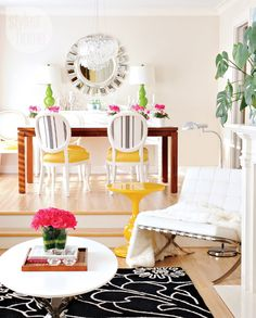 Modernly chic living space from Style At Home. Colorful Apartment, Suite Life, Yellow Interior, Home Upgrades, House Layouts, Beautiful Interiors, Interior Inspiration, Interior Ideas, Room Inspiration