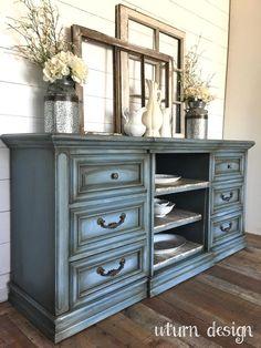 Blue grey farmhouse buffet By uturn design