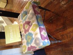 The Preston ottoman in a Bimini ikat pattern . Furniture Upholstery, Fine Furniture, Wood Columns, Furniture Factory, Ikat Pattern, Furniture Market, Fabric Squares, Chair And Ottoman, Modern Sofa