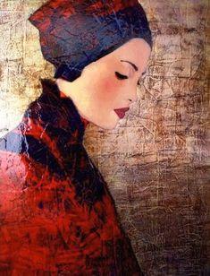 Arte e curiosità – Le donne klimtiane di Richard Burlet – Barbara Picci Figure Painting, Painting & Drawing, Richard Burlet, Collage Portrait, Oil Portrait, Female Portrait, Kunst Online, Guache, Gustav Klimt