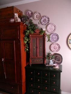 Nancy's Daily Dish: My Master Bedroom Tour - Part 1 - Entertainment Center and Purple Transferware Plates