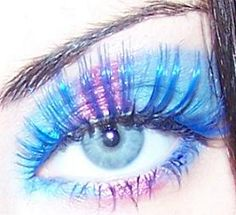 Colorstay pale base. Light teal shadow, apply inner eye both top & bottom; vivid pink shadow apply directly in middle of top & bottom lid; cont w/ teal on outside of top & bottom lid. find bright/baby blue falsies (Urban Decay), teal falsies.