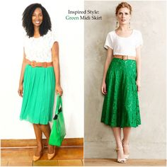 Green Midi Skirt paired with Ivory Lace Tee.  Look for less inspired by Anthropologie.
