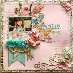 Scrapbook page made by Websters Pages design team member Gabrielle Pollacco using the Modern Romance collection papers and embellishments