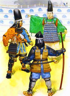 Kusunoki Masashige at Minatogawa with a Samurai attendant and court nobleman, 1336