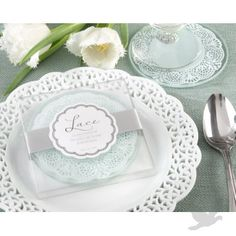 """White Theme Wedding→""""Lace"""" Frosted Glass Coasters"""