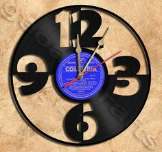 Wall Clock Big Numbers Vinyl Record Clock Upcycled Gift Idea