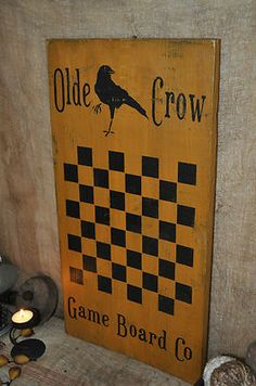 Ex Lg Mustard Wood Sign Olde Crow Game Board Co. Country Primitive Folk Art